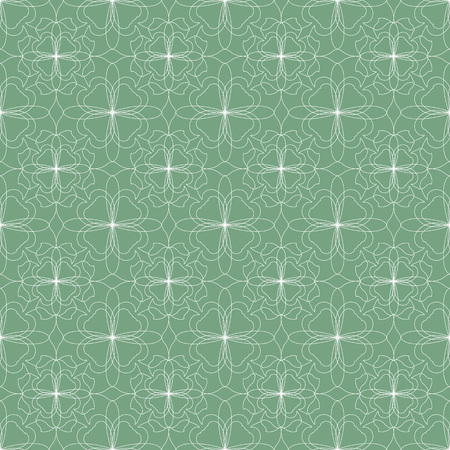 Seamless abstract floral pattern. Geometric flower ornament on a green background. Иллюстрация