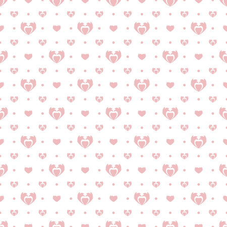 Background with pink hearts on white. Seamless abstract pattern. Happy Valentines Day.
