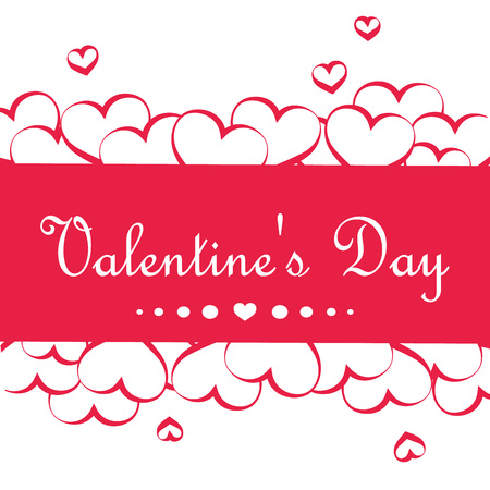 Beautiful pink banner with hearts. Happy Valentines Day. Vector illustration.