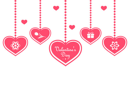 Set of pink hearts hanging from hearts, isolated on a white background. Happy Valentines Day. Vector illustration. Иллюстрация