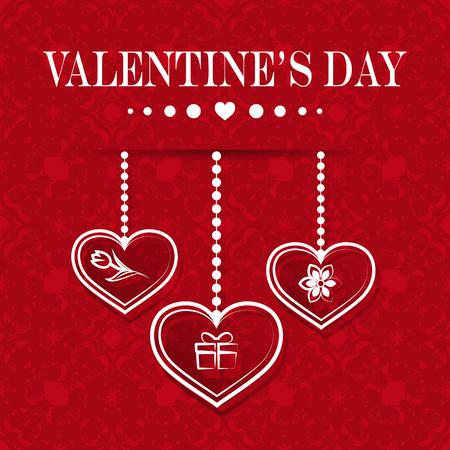 Set with red hearts. Happy Valentines Day. Vector illustration. Illusztráció