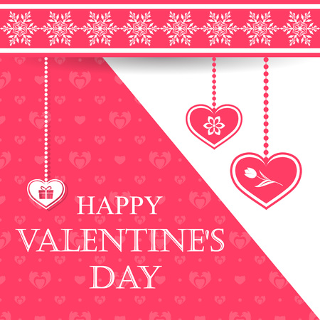 Valentines Day greeting card with symbols such as gift and flowers. Vector illustration.