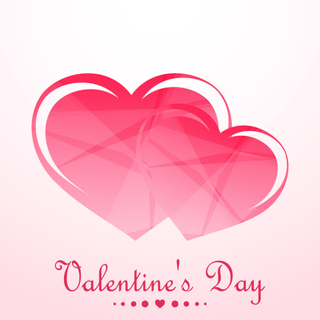 Two pink hearts on a white background. Happy Valentines Day. Vector illustration.