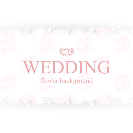 Vintage wedding invitation with floral background. Elegant design element with space for your text. Flower borders.