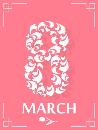 March 8 International Womens Day. Gift card. Vector illustration. Illusztráció