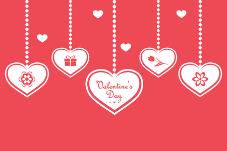 Set of hanging hearts with symbols, isolated on red background. Happy Valentines Day. Vector illustration Иллюстрация