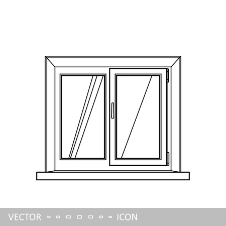 PVC plastic window. Home window design element. Vector icon in linear style.