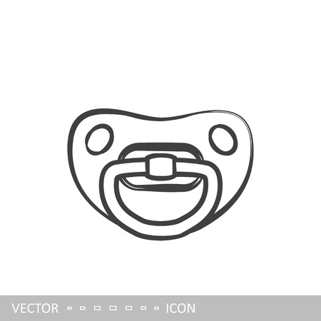 Pacifier icon. Baby's dummy icon in the style of linear design.
