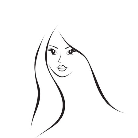 Face of a beautiful young woman sketch. Simple lines. Vector illustration.