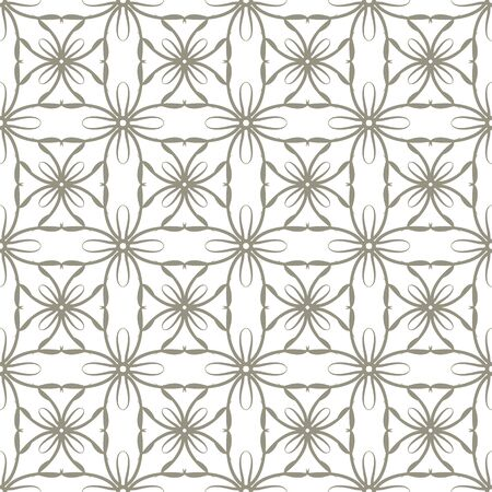 Seamless abstract floral pattern in oriental style. Geometric flower ornament on a white background.