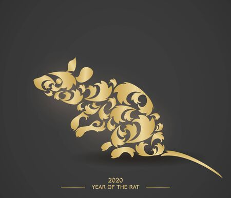 Rat is the symbol of the Chinese New Year 2020. Design for holiday cards, calendars, banners, posters. Happy New Year. Vector element for new year design.