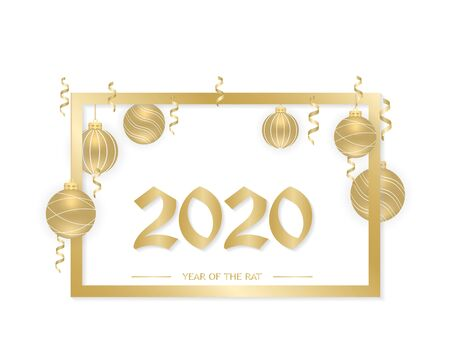 Happy New Year 2020. New Year background with golden hanging balls, ribbons and a frame. Text, design element. Vector illustration. Illusztráció