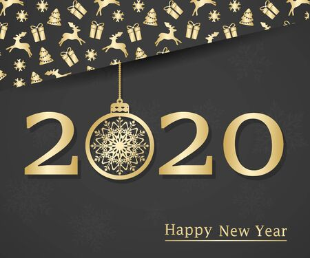 Happy new year 2020. Text, design element. Vector illustration.