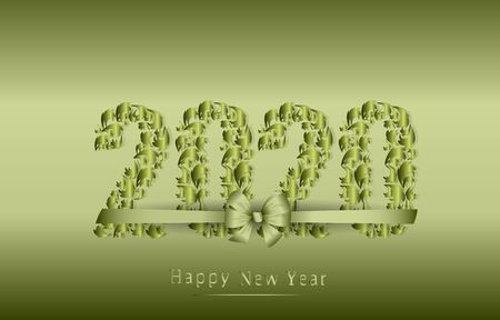Happy New Year 2020. Text tied with a bow. Vector illustration. Elegant christmas design element. Vector illustration. Illusztráció