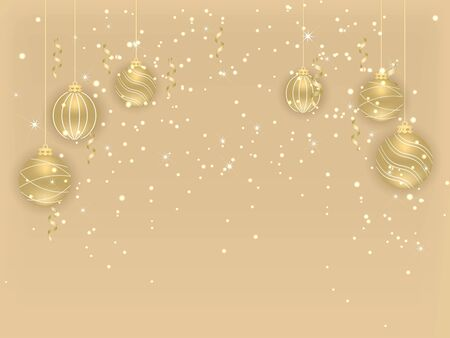 Merry Christmas and Happy New Year. Beautiful New Year background with gold hanging balls and ribbons. Elegant background for christmas design. Vector illustration. Illusztráció