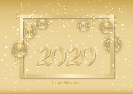 Beautiful New Year background with gold hanging balls, ribbons and a frame. Elegant background for christmas design. Vector illustration.