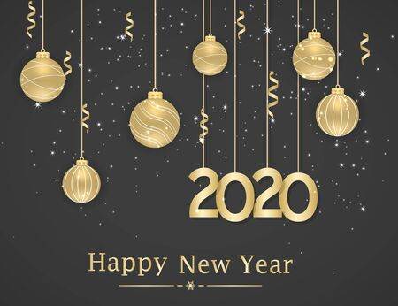 Happy New Year 2020. New Year background with golden hanging balls and ribbons. Text, design element. Vector illustration.