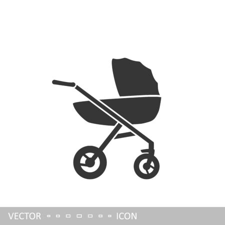 Pram icon. Baby stroller icon in flat design style.