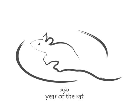 Drawn rat isolated on a white background. Symbol of 2020 Chinese New Year. Sketch mouse icon. Vector illustration for new year design.