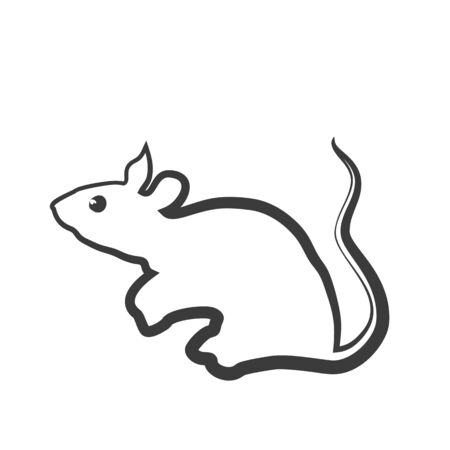 Rat icon in a linear design style. The traditional symbol of the Chinese New Year. Vector illustration.