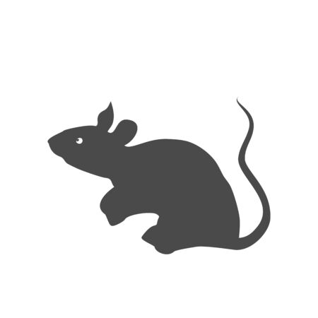 Rat icon in flat design style. Silhouette on a white background. The traditional symbol of the Chinese New Year.