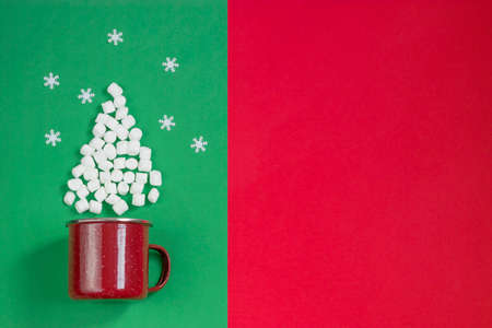 Christmas tree made of marshmallows on double red and green