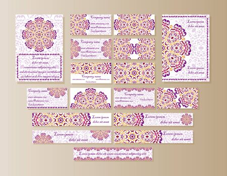esoterics: A large set of printed materials from Mandala design in oriental style. Illustration
