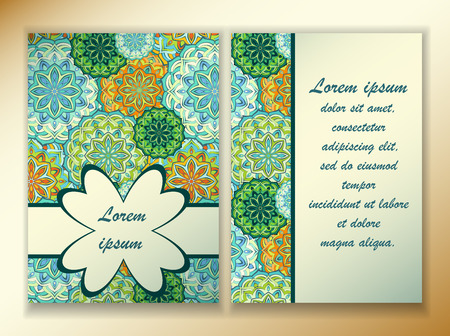 a5: a colorful design of mandala in oriental style. Template size A4, A5. Ready to Print. Front page and back page.