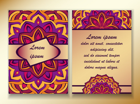 esoterics: a colorful design of mandala in oriental style, red, violet and purple. Template size A4, A5. Ready to Print. Front page and back page.