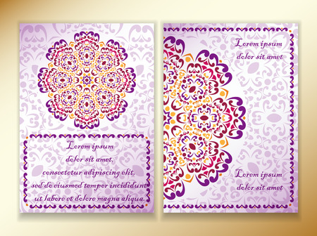 esoterics: a colorful design of mandala in Indian style, red, violet and purple. Template size A4, A5. Ready to Print. Front page and back page.