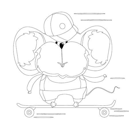 La Tortuga Y El Caracol En Un Monopatín. Esbozar Dibujo Para ...
