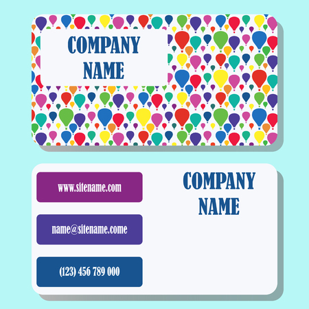 fiesta popular: Business card template with a background from multi-colored balloons and concise design.
