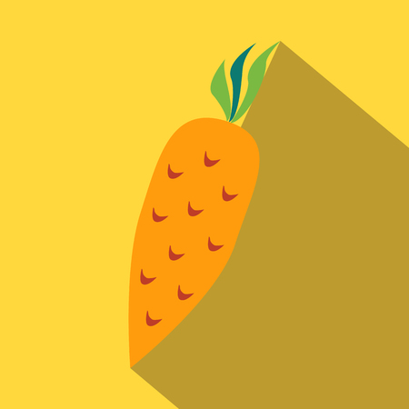 delectable: Carrot colored icon on a yellow background.