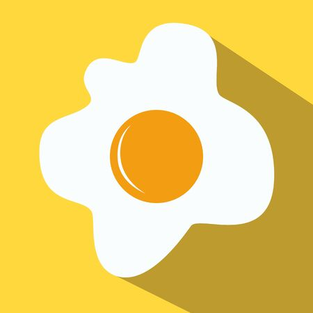 fried eggs: Fried eggs fried eggs colored icon on a yellow background.