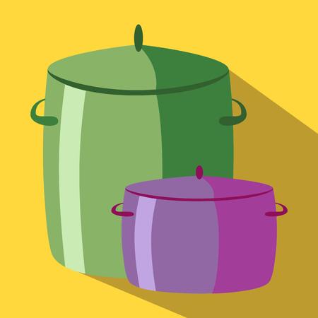saucepan: Saucepan, pan colored icon on a yellow background. Illustration