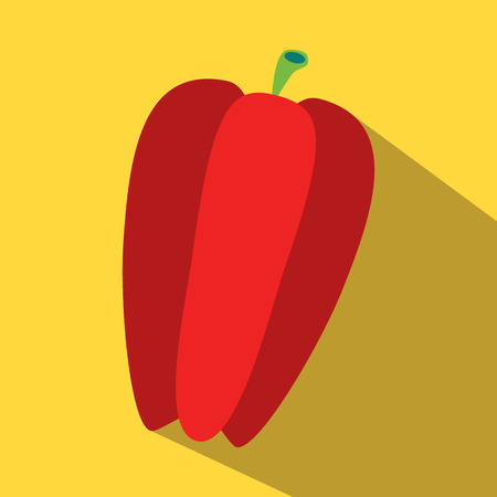 bulgarian: Bulgarian sweet red pepper colored icon on a yellow background. Illustration