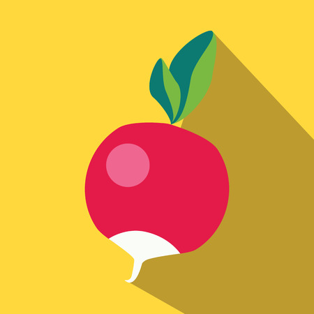 sappy: Radish colored icon on a yellow background.