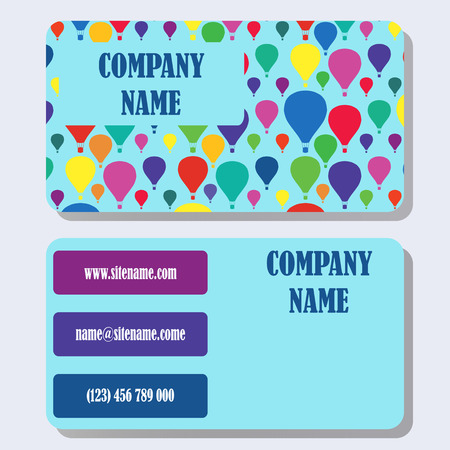 firms: Business card template with a background from multi-colored balloons and concise design.