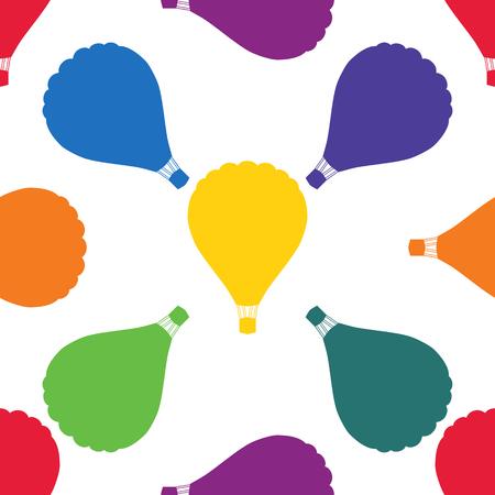 aeronautics: Balloons seamless colored pattern.