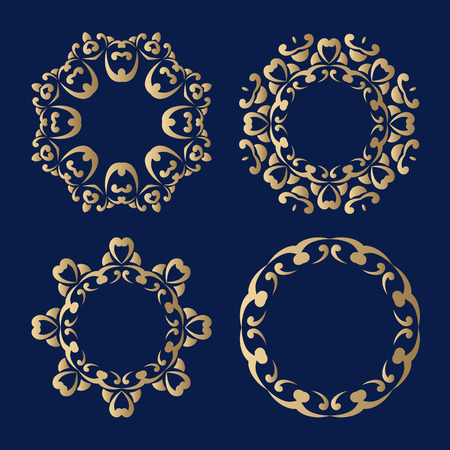 hue: Set of decorative frames in vintage oriental style with a golden hue. Elements for design of cards, invitations, books, magazines and other printed materials. Illustration
