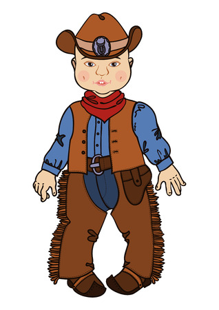 holster: Cowboy baby. Child in a cowboy suit. Illustration