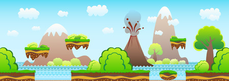 cartoon volcano: Seamless game background. Cartoon landscape, mountains, volcano, sea, bushes, beach. Illustration