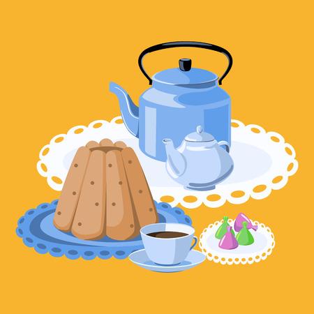 tea pot: Tea party. Pudding, tea cup, tea pot, kettle and candy. Illustration