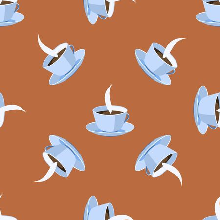 cereal bar: Seamless pattern with cup. Illustration