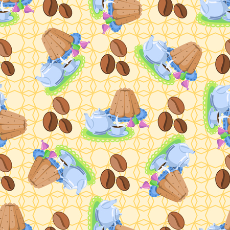 tea kettle: Seamless pattern with objects for tea. Kettle, teapot, cup, cake, candy, coffee beans.
