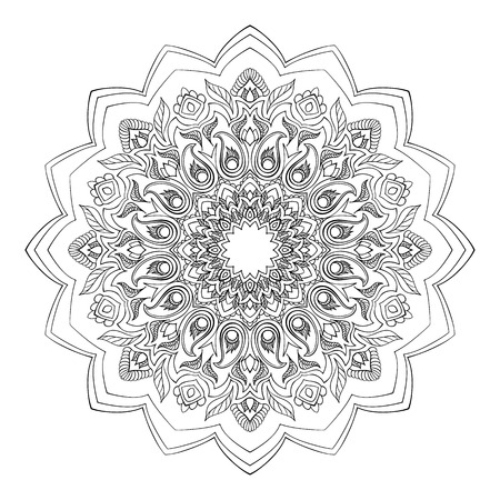 vegetative: Mandala with vegetative elements, stylized flowers and curls. Decorative element in oriental style. Illustration