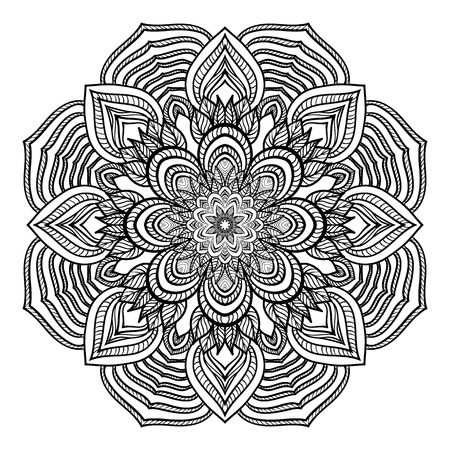 Mandala with vegetative elements, decorative element with swirls for design of books, printed materials, invitation for a wedding or a celebration, for albums.