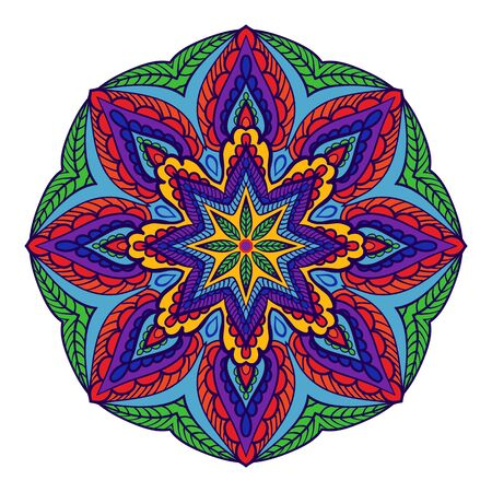 vegetative: Beautiful colorful mandala with vegetative elements, decorative element with swirls for design of books, printed materials, invitation for a wedding or a celebration, for albums.