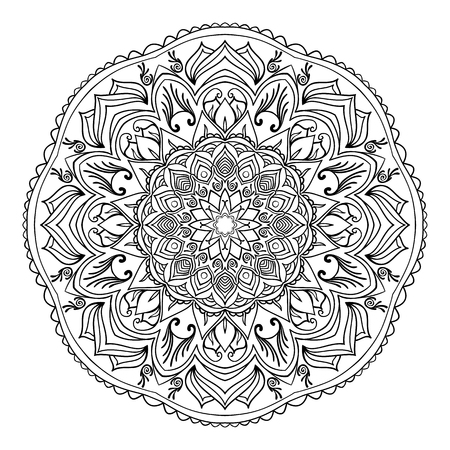 eastern spirituality: Mandala. The central element in the form of cinnamon flower. Decorative element with swirls for design of books, printed materials, invitation for a wedding or a celebration, for albums.