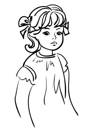dessin au trait: Petit dessin fille contour.